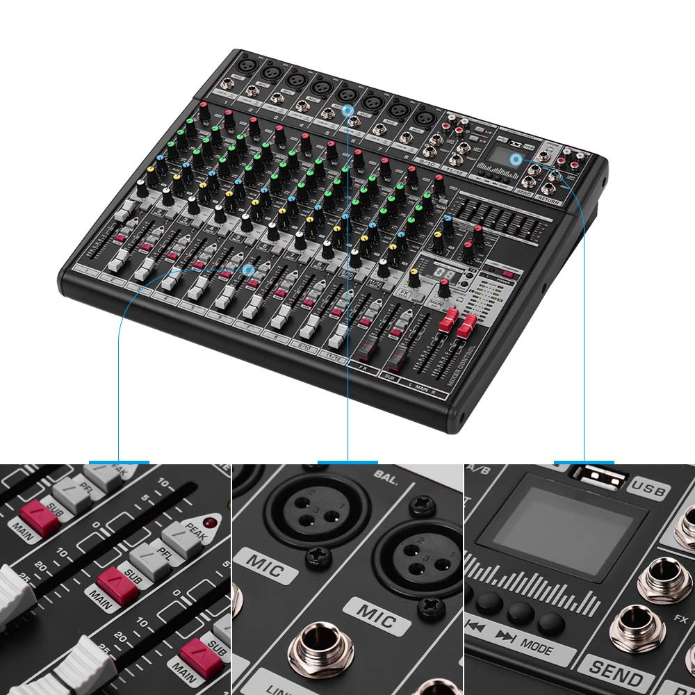 Lepeuxi - Mesa de mezclas profesional de 12 canales con ...