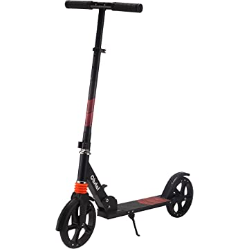 Obstal Kick Scooter for Kids - Double & Three Wheels, Adjustable Height Folding T-bar with Flashing Wheels