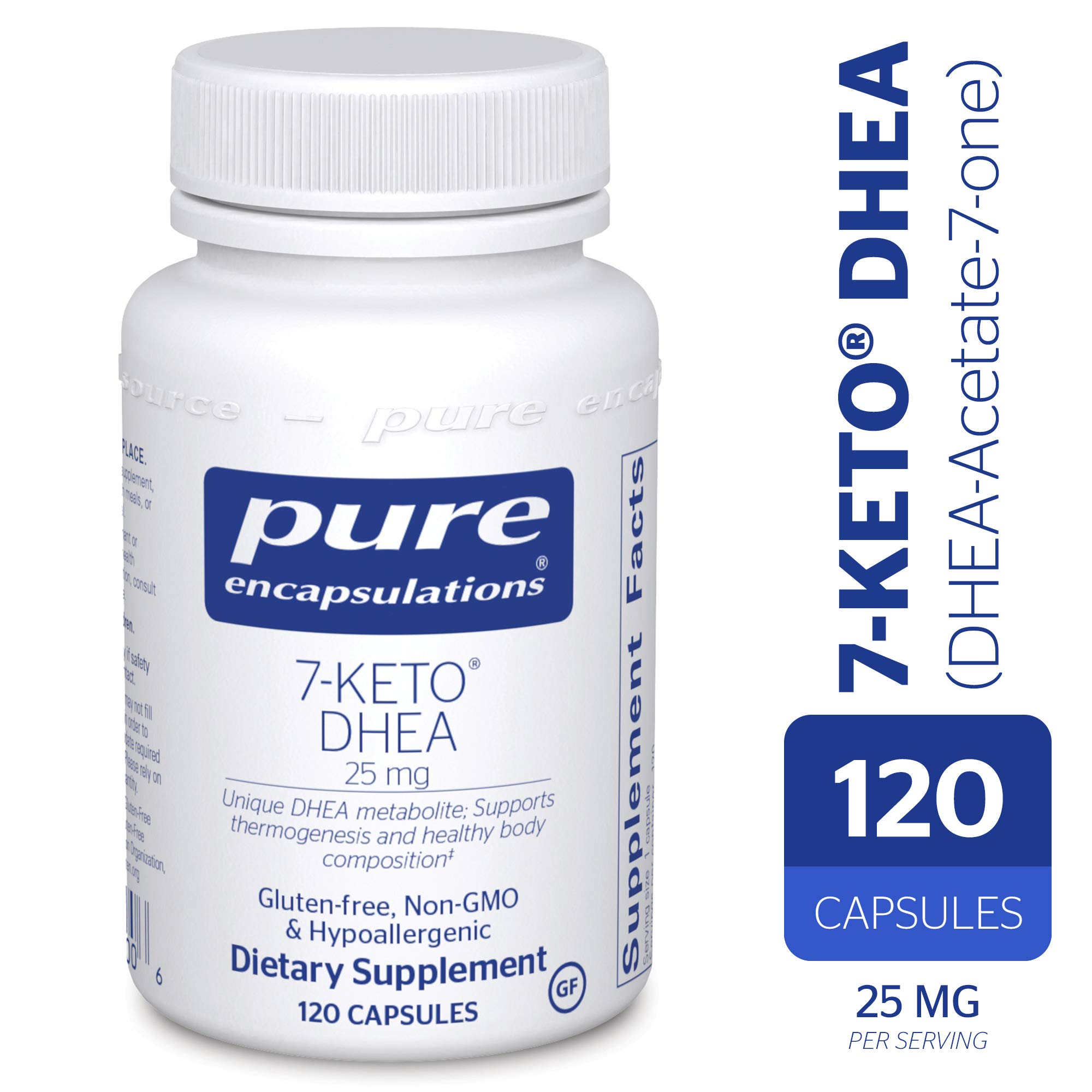 Pure Encapsulations - 7-Keto DHEA (DHEA-Acetate-7-one) 25 mg - Unique DHEA Metabolite - Hypoallergenic Dietary Supplement - 120 Capsules