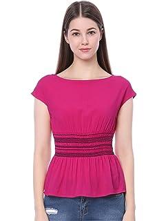 0b7d4f56548e18 Allegra K Women s Boat Neck Cap Short Sleeve Empire Smock Waist Peplum Top  T Shirt