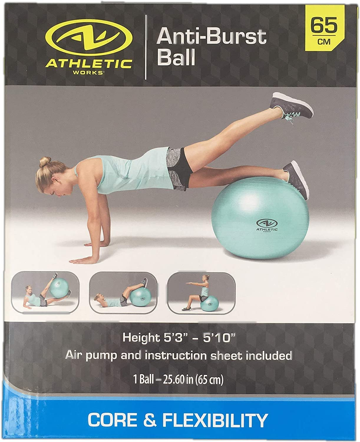 Exercise Fitness Work Out Ball 65 cm with Pump Anti Burst Mint Green