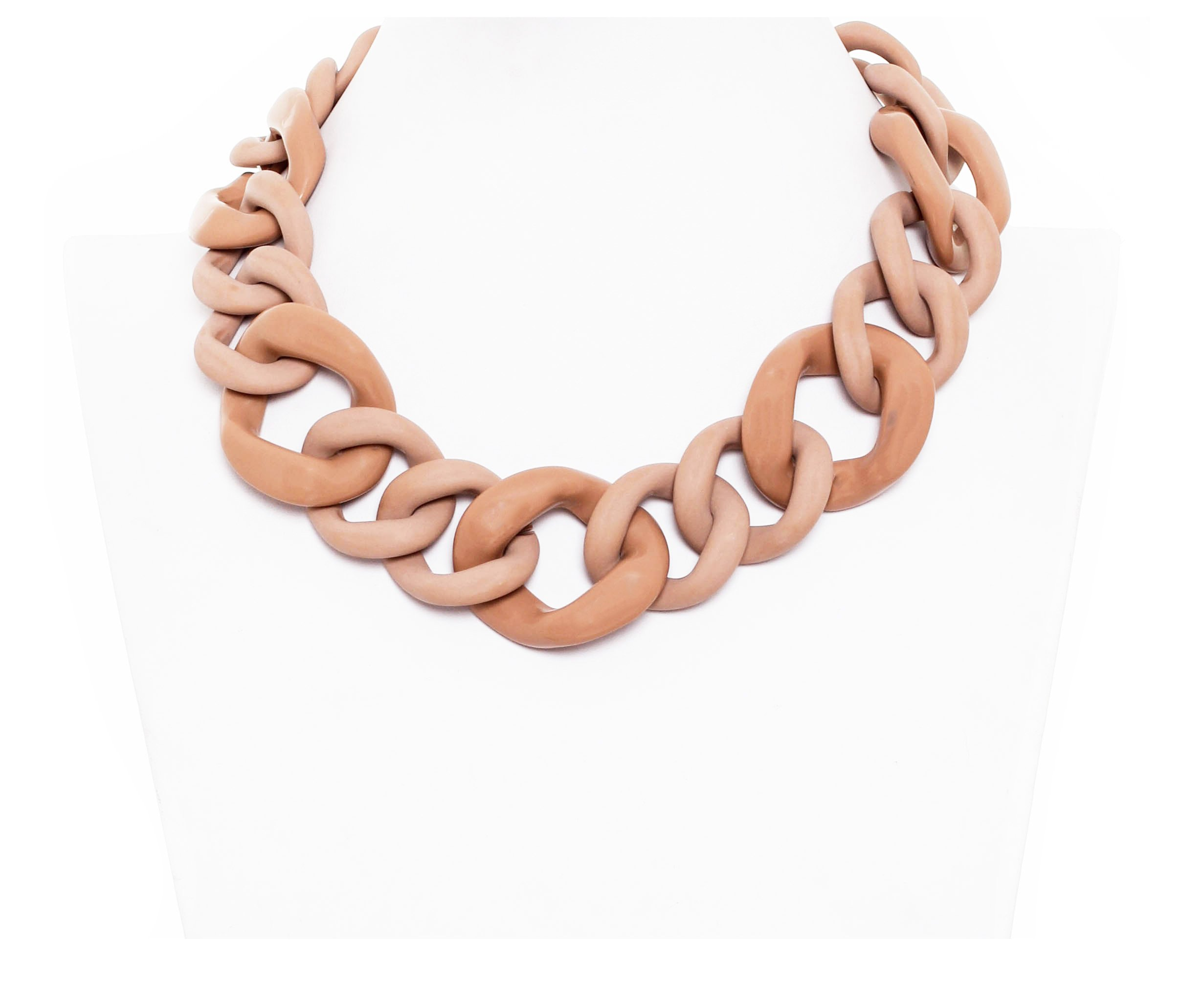 Alisha D Sand Shiny and Matte Mixed Resin Alternating Sizes Chain Link Necklace -Made in Italy