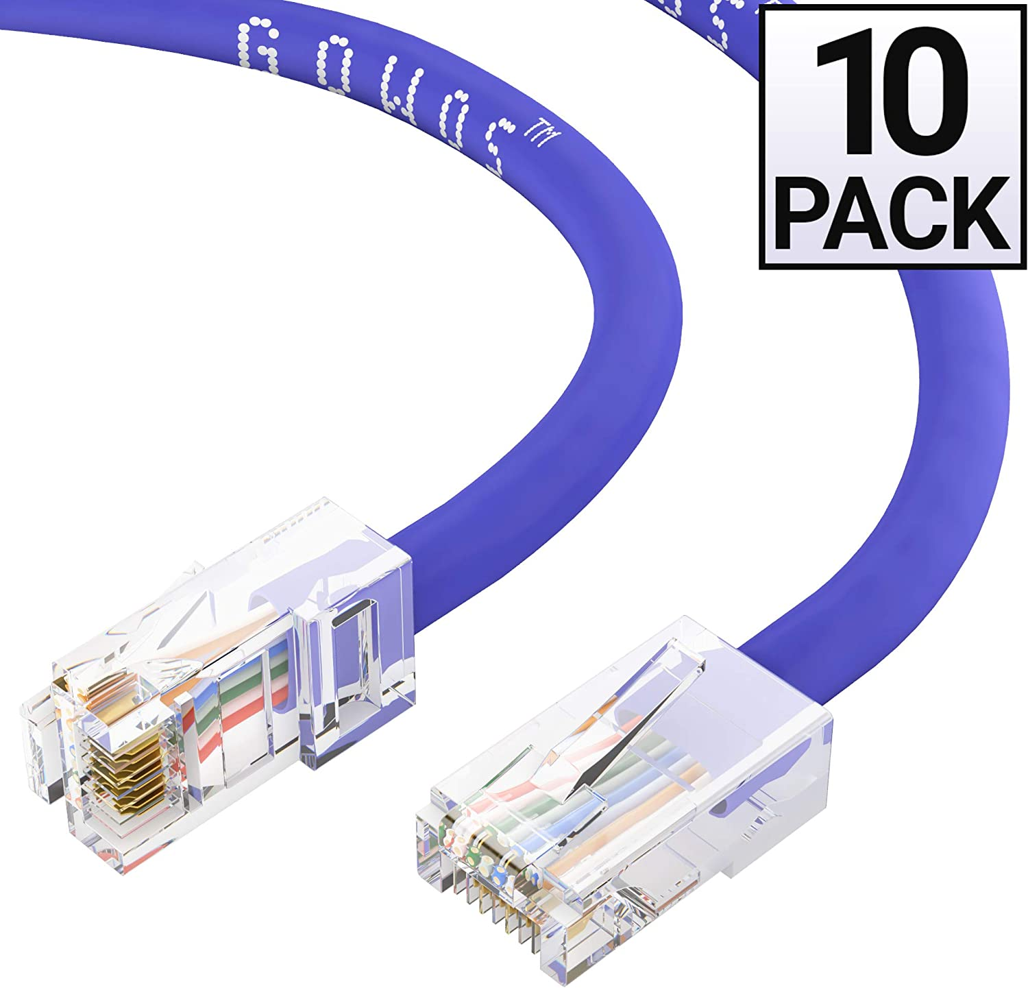 Available in 28 Lengths and 10 Colors UTP Computer Network Cable with Bootless Connector GOWOS 20-Pack Cat6 Ethernet Cable 50 Feet - Gray RJ45 10Gbps High Speed LAN Internet Patch Cord