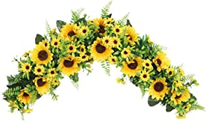 2Krmstr 27.6in Artificial Sunflower Swag, Decorative Swag with Sunflowers and Green Leaves, Farmhouse Floral Swag Handmade Garland for Wedding Arch Front Door Wall Decor