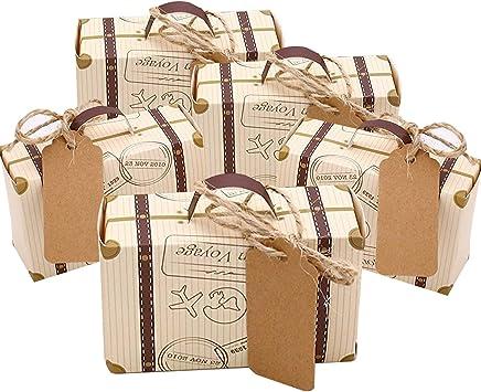 Faylapa 100 Sets maleta temática de viaje cajas de dulces Vintage bolsa de regalo de papel Kraft para fiesta temática de viaje boda nupcial cumpleaños: Amazon.es: Juguetes y juegos
