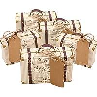 Faylapa 100 Sets maleta temática de viaje cajas de dulces Vintage bolsa de regalo de papel
