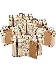 Faylapa 50 Sets maleta temática de viaje cajas de dulces Vintage bolsa de regalo de papel