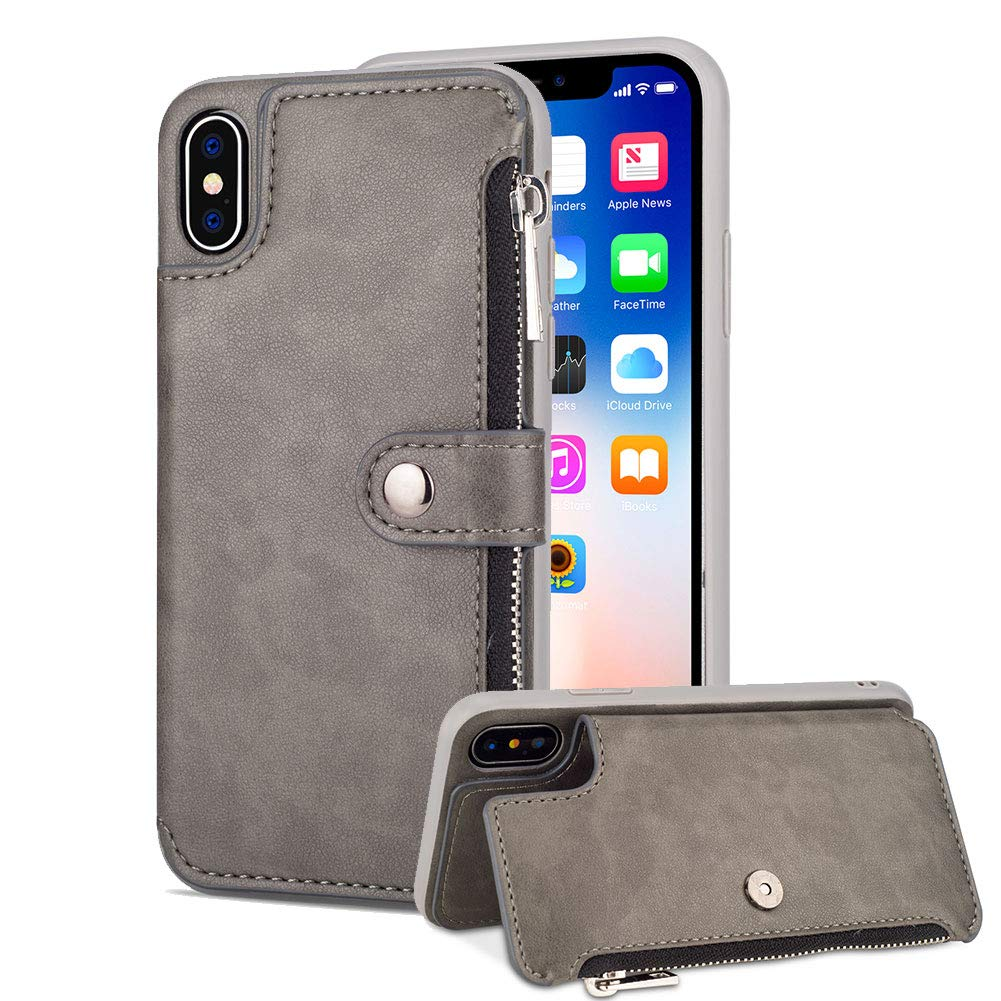 Aearl Samsung Galaxy S9 Plus Zipper Wallet Case,Samsung S9 Plus Leather Case with Card Holder,Flip Folio Credit Card Slot Money Pocket Magnetic Detachable Buckle Wallet Phone Case for Women Men-Gray by Aearl