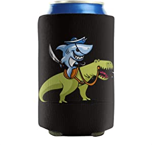 12-16 OZ Bottles Neoprene Beverage Coolers Shark Pirate Riding T-Rex Dinosaur Beer Can Sleeves Non-Slip Bottles Party Cans Cooler Sleeve Keeps Drinks Cold 2 Pack