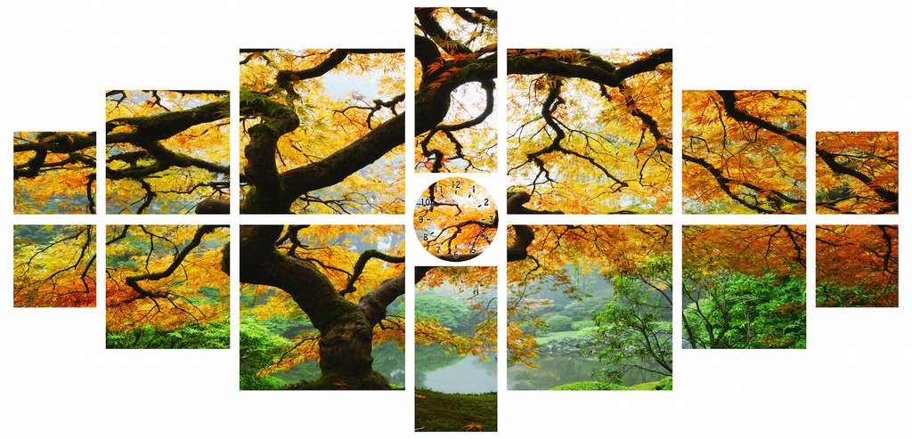 Startonight Canvas Wall Art Maple Multi, Nature Tree Yellow, Landscape USA Design for Home Decor, Dual View Surprise Wall Art Set of 15 Total 39.37 X 82.7 Inch Original Art Painting! by Startonight