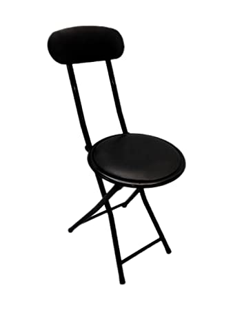 Portable Small Black Folding Chair Padded with Lock Mechanism Easy Storage  and Stackable (10)