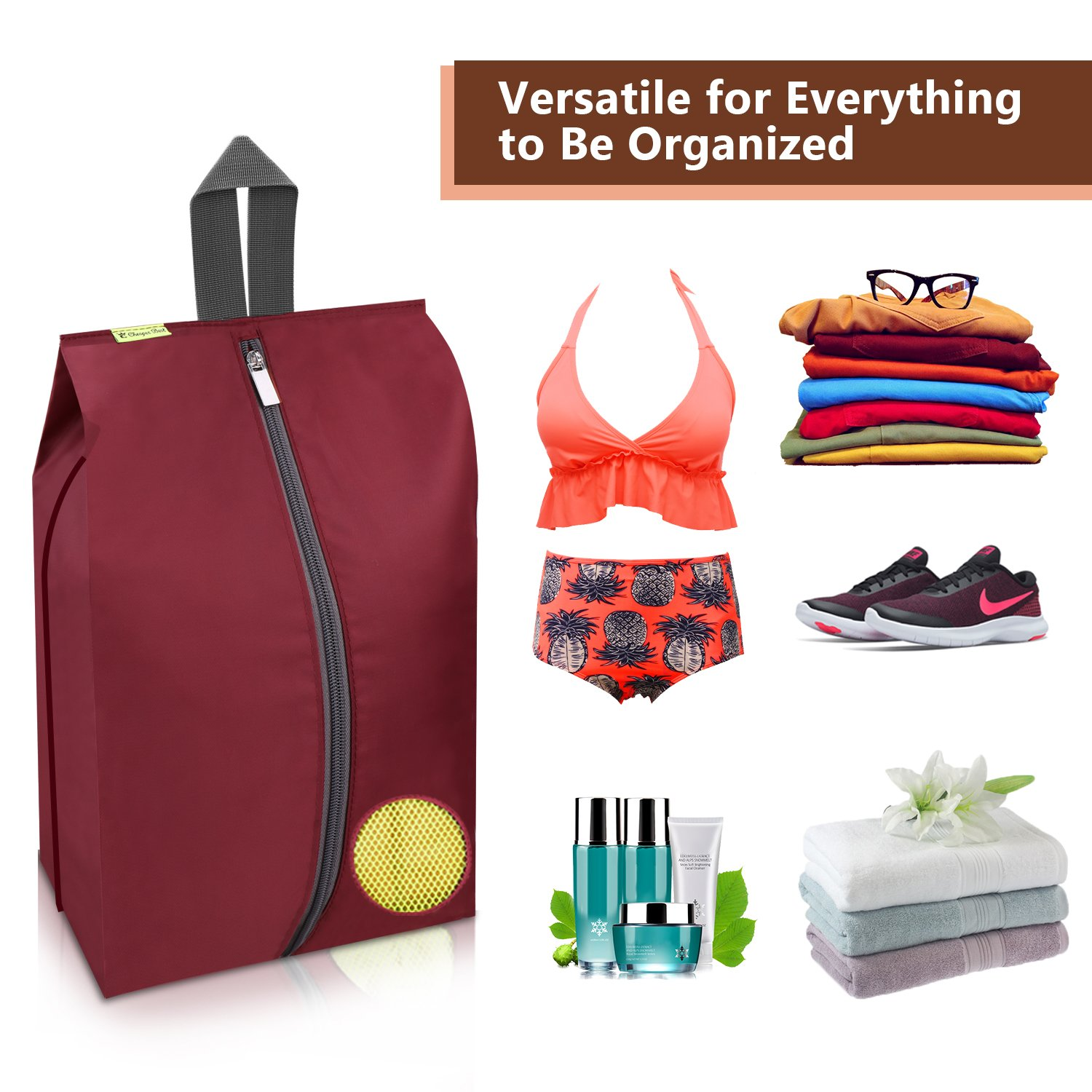 Travel Shoes Bags 4 Pieces Pack – Cheaper Best - Waterproof Durable Versatile Organizers Sleeves Tough Zipper with Fluorescent Mesh Reinforced See-Through Window (Burgundy) by Cheaper Best (Image #6)