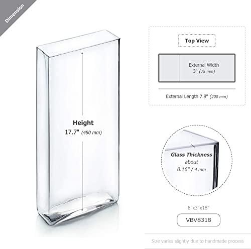 WGV Tall Rectangle Block Vase Bulk, Width 3 , Length 8 , Height 18 , Clear Glass Floral Container Wedding Party Event Home Office Decor, 6 Pieces
