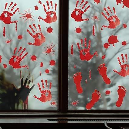 Pawliss 5 Sheets Halloween Bloody Handprint Footprint Window