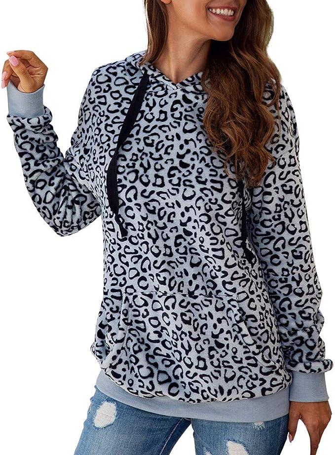 ALISIAM Moda Mujer Chándal Estampado de Leopardo Sombrero Jersey ...
