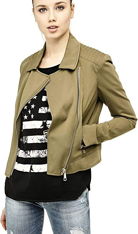 Guess Giacca Camicia Donna Olive S: Amazon.it