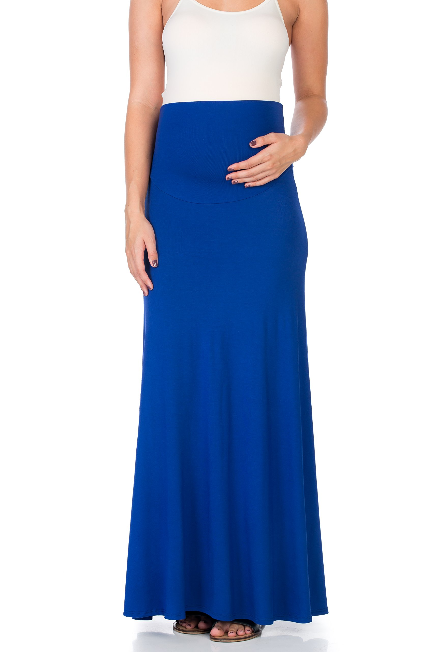 My Bump Women's High Waisted Floor Length Maternity Maxi Skirt With Tummy Control(Made in USA) (LARGE, ROYAL)