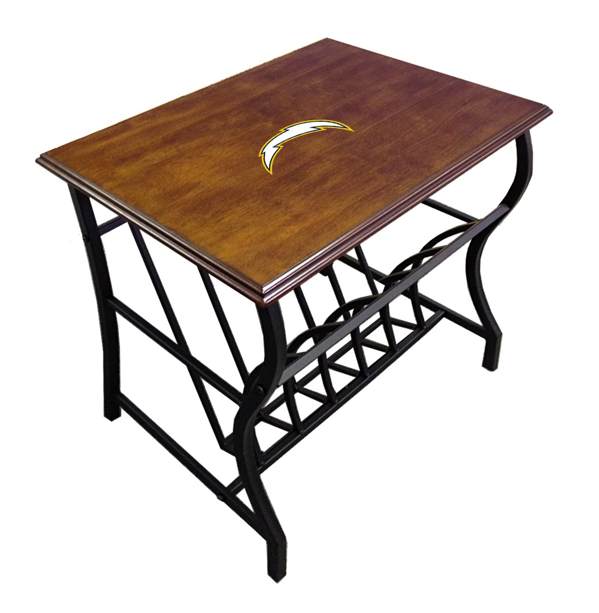 New Oak Finish Side End Table with Bottom Magazine Rack and Your Choice of a Football Team Logo Theme! (Chargers)