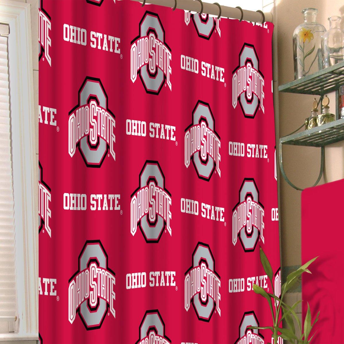 Northwest NCAA Ohio State Buckeyes Shower Curtain College Football Team Logo Bath Accessory by Northwest