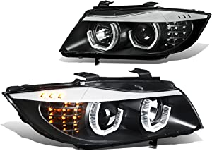 Replacement for BMW E90 3-Series 06-08 Pair of 3D Crystal Halo Projector Black Housing Amber LED Corner Headlights