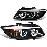 BMW E90 3-Series Pair of 3D Crystal Halo Projector Black Housing Amber LED Corner Headlights