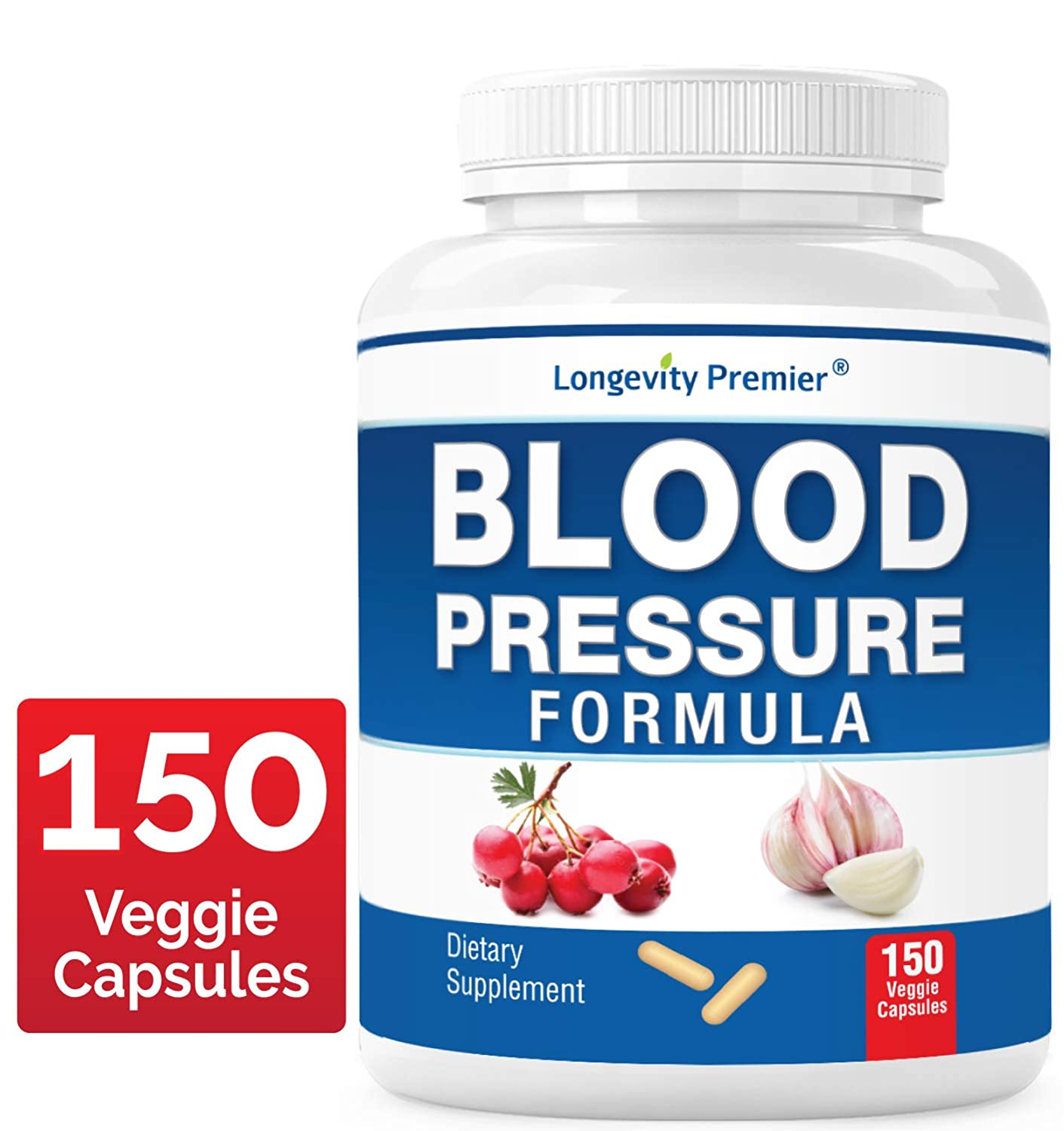 Longevity Blood Pressure Formula 150 Capsules -Scientifically formulated with 12 Natural Herbs. Best Blood Pressure Supplement