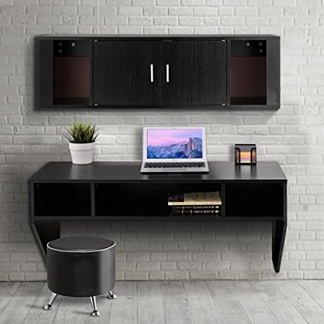 Giantex Wall Mounted Floating Desk Computer Table Hutch Set Study Living Room Furniture Black