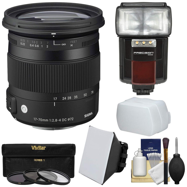 シグマ17 – 70 mm f / 2.8 – 4コンテンポラリーDCマクロOS HSMズームレンズfor Canon EOS DSLRカメラとフラッシュ+ソフトボックス& Diffuser + 3 UV/CPL / nd8フィルタ+キット   B00V5BRLSM