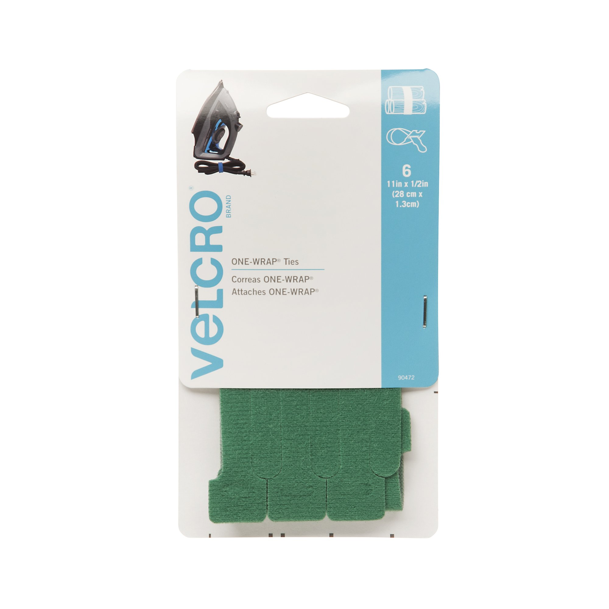 VELCRO Brand ONE-WRAP Ties | For Cables, Wires & Cords | 6 Ct - 11'' x 1/2'' | Green