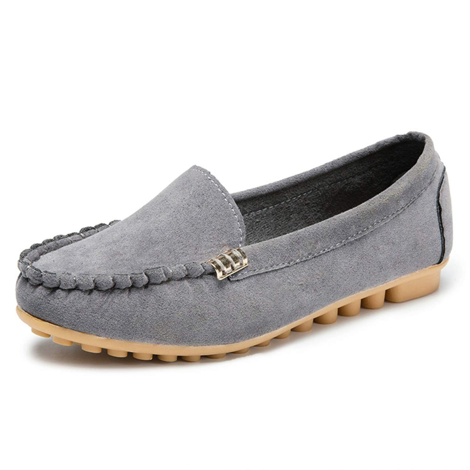 Collocation-Online Shallow Flats 2019 Womens Pumps Shoes Ladies Comfy Ballet Shoes Soft Slip-On Casual Boat Shoes,Gray,38,C