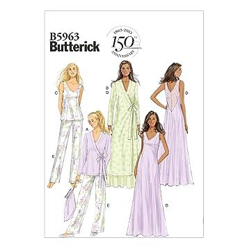 Butterick Patterns B5963 E5 - Patrones de costura para camisones, batas, camisetas, pantalones y bolsa guardapijamas, color blanco: Amazon.es: Hogar