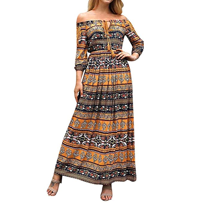POLP Vestidos Largo Mujer ◉ω◉ Boho Vestido Largo Fiesta Mujer, Falda Larga Mujer, Vestido Manga Larga Mujer, Ropa otoño Mujer 2018, Vestidos otoño, ...