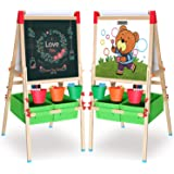 Ciro Art Easel for Kids Adjustable Wooden White Board & Chalkboard Double Side Magnetic Board with a Paper Roll for Boys and