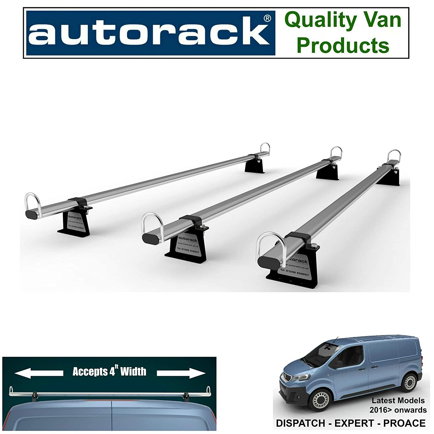 Mk2 Current version van Vauxhall Vivaro Mk2 Strong Roof Rack Bars Rails 3 bars