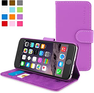 iPhone 6S Case, Snugg - Purple Leather iPhone 6s Flip Case Premium Wallet Phone Cover with Card Slots for Apple iPhone 6S