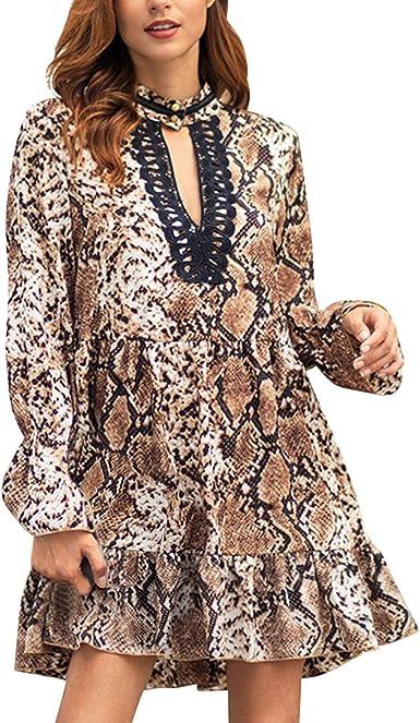 Jolisson - Vestido - Camisa - Animal Print - Cuello en V - Manga Larga - para Mujer marrón 46: Amazon.es: Ropa y accesorios
