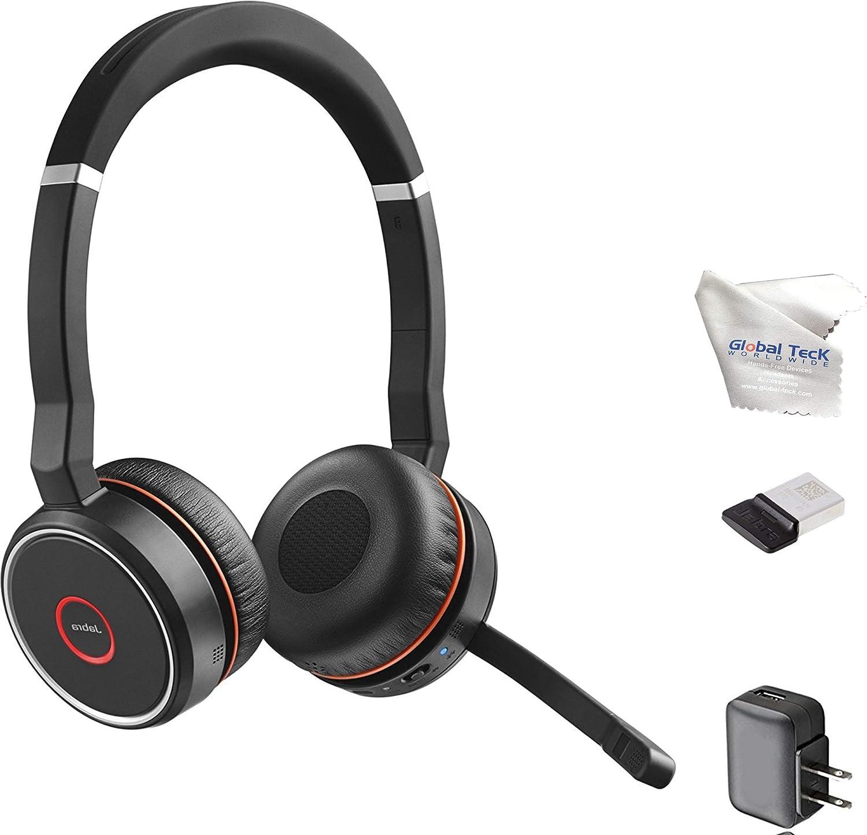 Jabra Evolve 75 Bluetooth Headset Bundle, Wall Charger, USB Dongle 7599-832-109-B, Pc, Mac, Compatible for Dragon, Softphones, Mobile, Tablet, Microsoft Certified, Skype, Cisco, Avaya