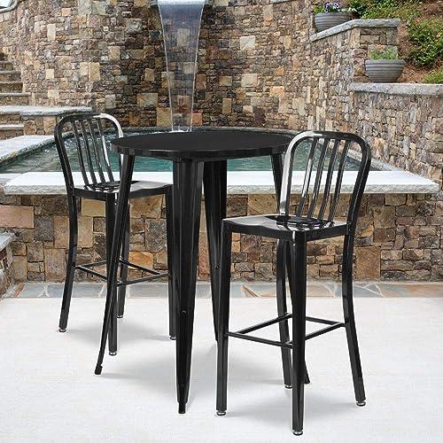 Flash Furniture Commercial Grade 30″ Round Black Metal Indoor-Outdoor Bar Table Set