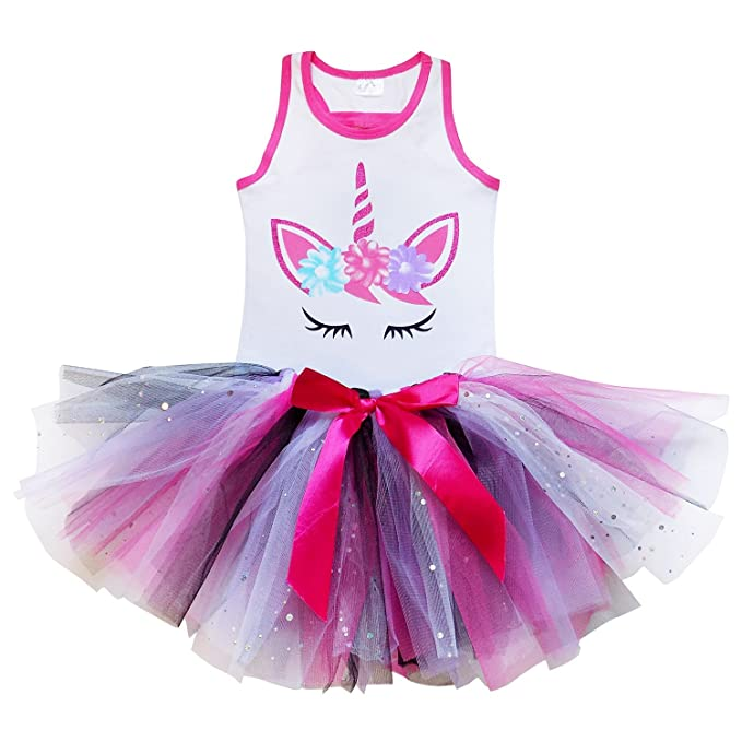 8d194f52f5e66 So Sydney Girls Toddler Unicorn Tutu Skirt & Top Novelty Dress-Up Play  Outfit (