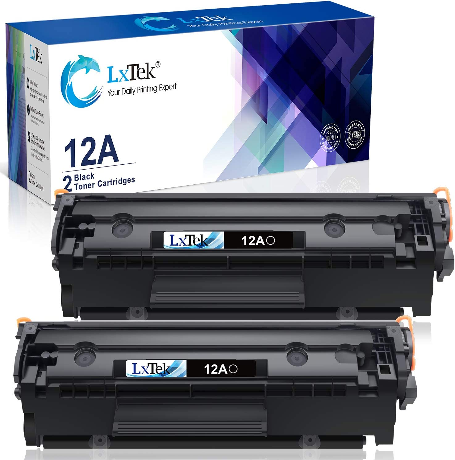 LxTek Compatible Toner Cartridge Replacement for HP 12A Q2612A to use with Laserjet 1012 1022 1020 1018 1022N 1010 3015 3050 3030 3052 3055 M1319F Printers (2 Black, High Yield)