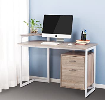merax stylish computer desk home and office desk table furniture with drawer and printer shelf