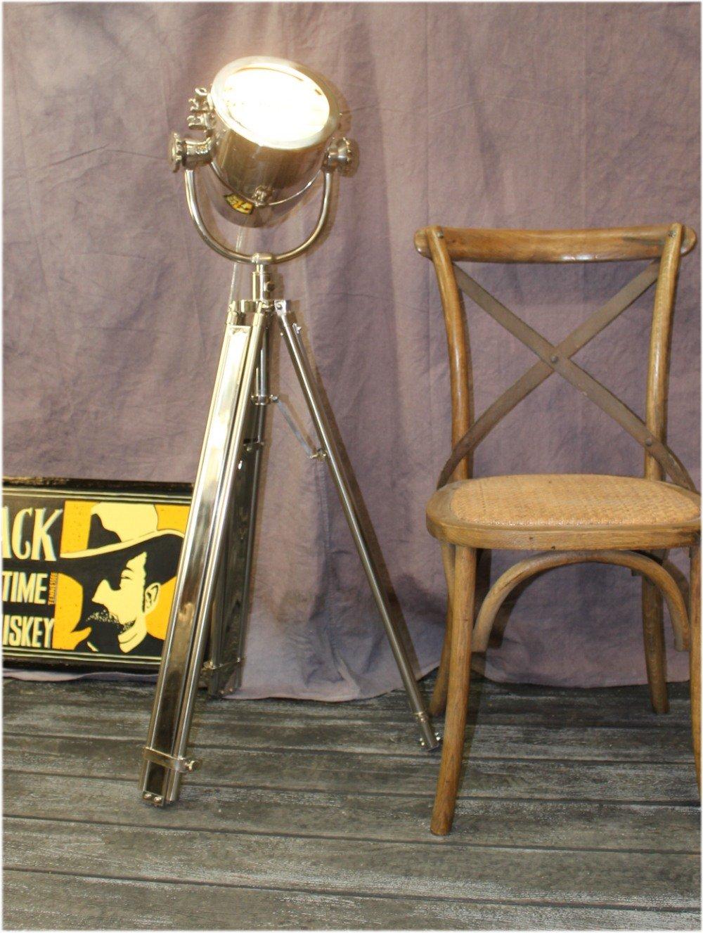 Movie Spotlight Floor Lamp Chrome & Adjustable Height Legs Light Fixture