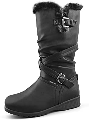 Comfy Moda Womens Winter Snow Boots Wool Lining Water Resistant Cold Weather Wool Lined Meggie