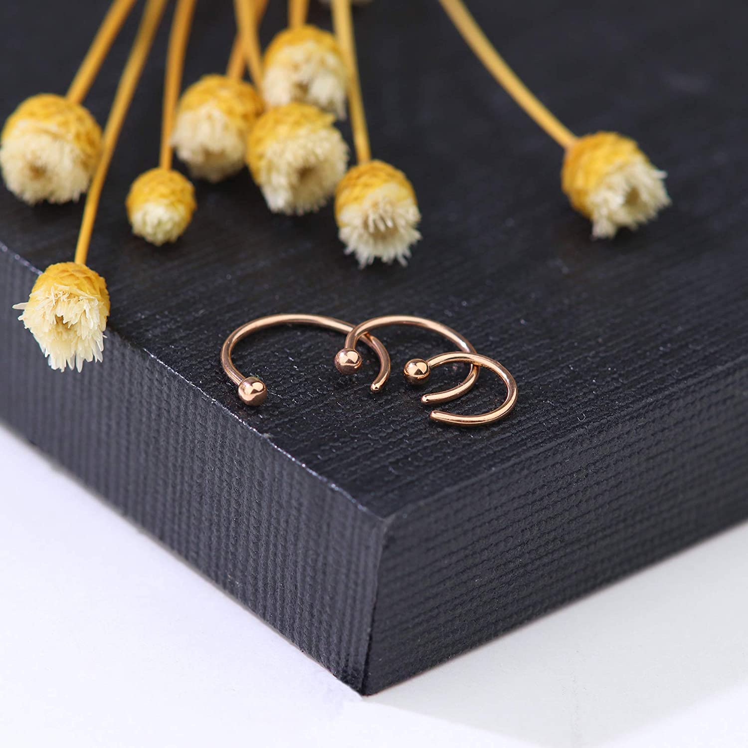 Thunaraz 20G Stainless Steel Hoop Nose Rings Stud Rings CZ Inlaid Piercing Jewelry 30PCS