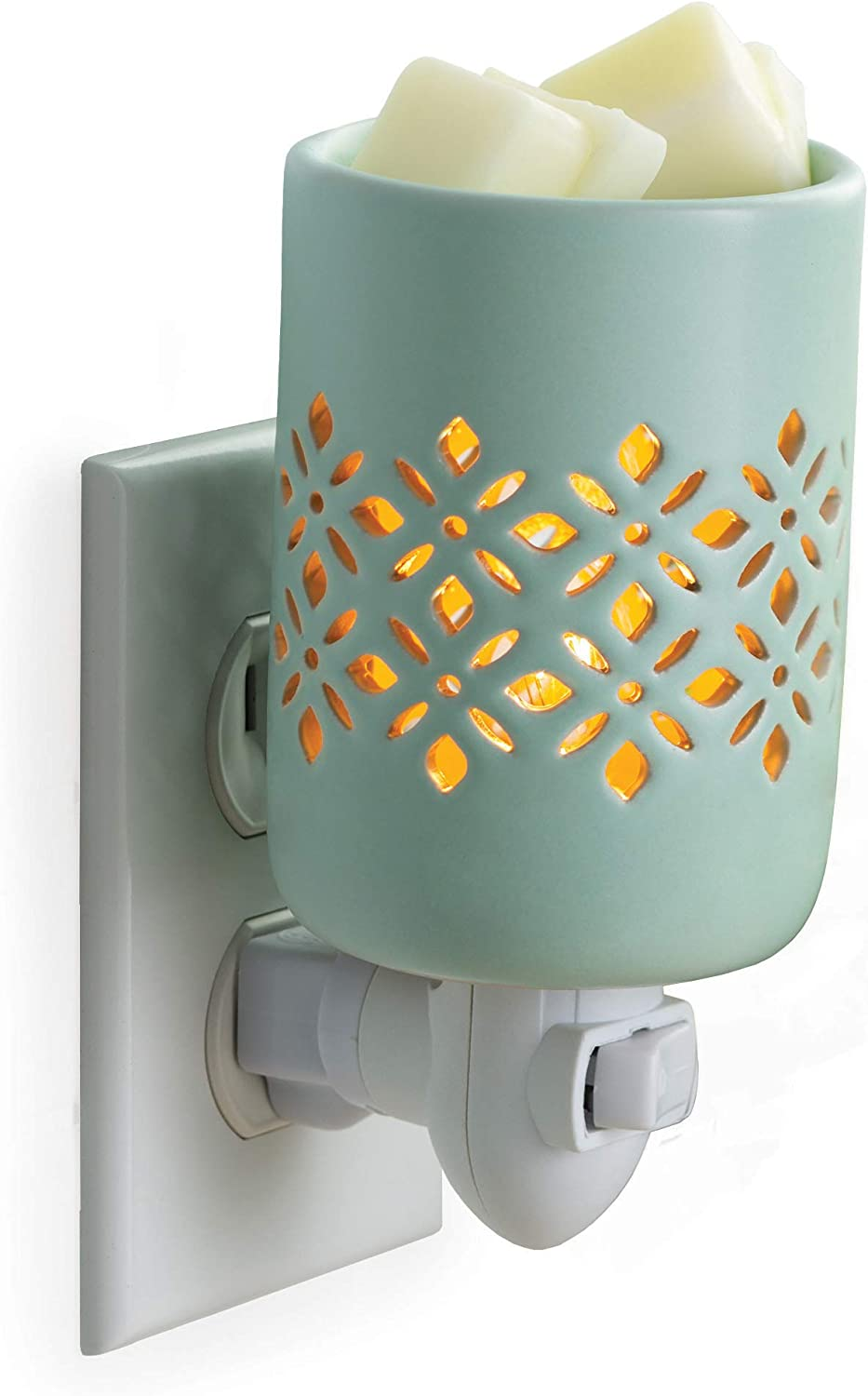 CANDLE WARMERS ETC Pluggable Fragrance Warmer- Decorative Plug-in for Warming Scented Candle Wax Melts and Tarts or Fragrance Oils, Soft Mint