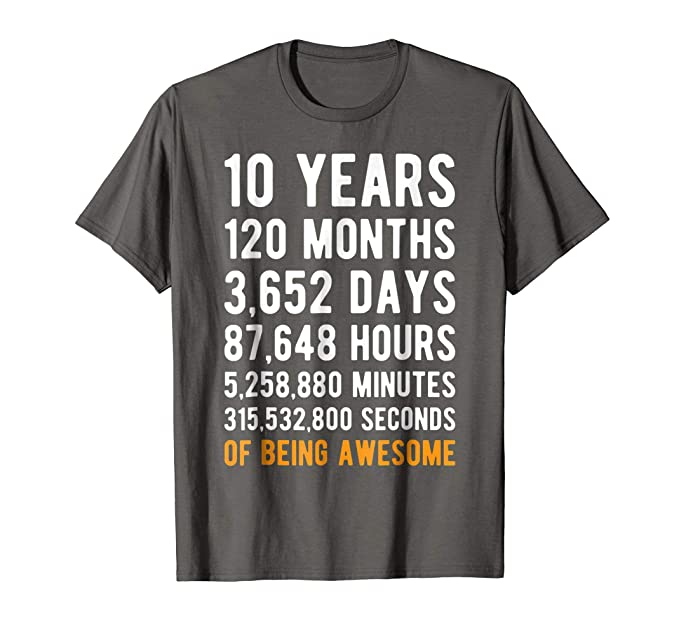 Mens 10th Birthday Gift T Shirt 10 Years Old Being Awesome Tee 2XL Asphalt