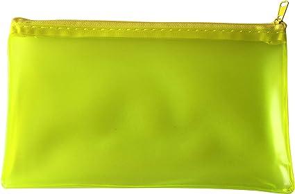 Estuche transparente translúcido para lápices, color amarillo esmerilado, 8 x 5 pulgadas: Amazon.es: Oficina y papelería