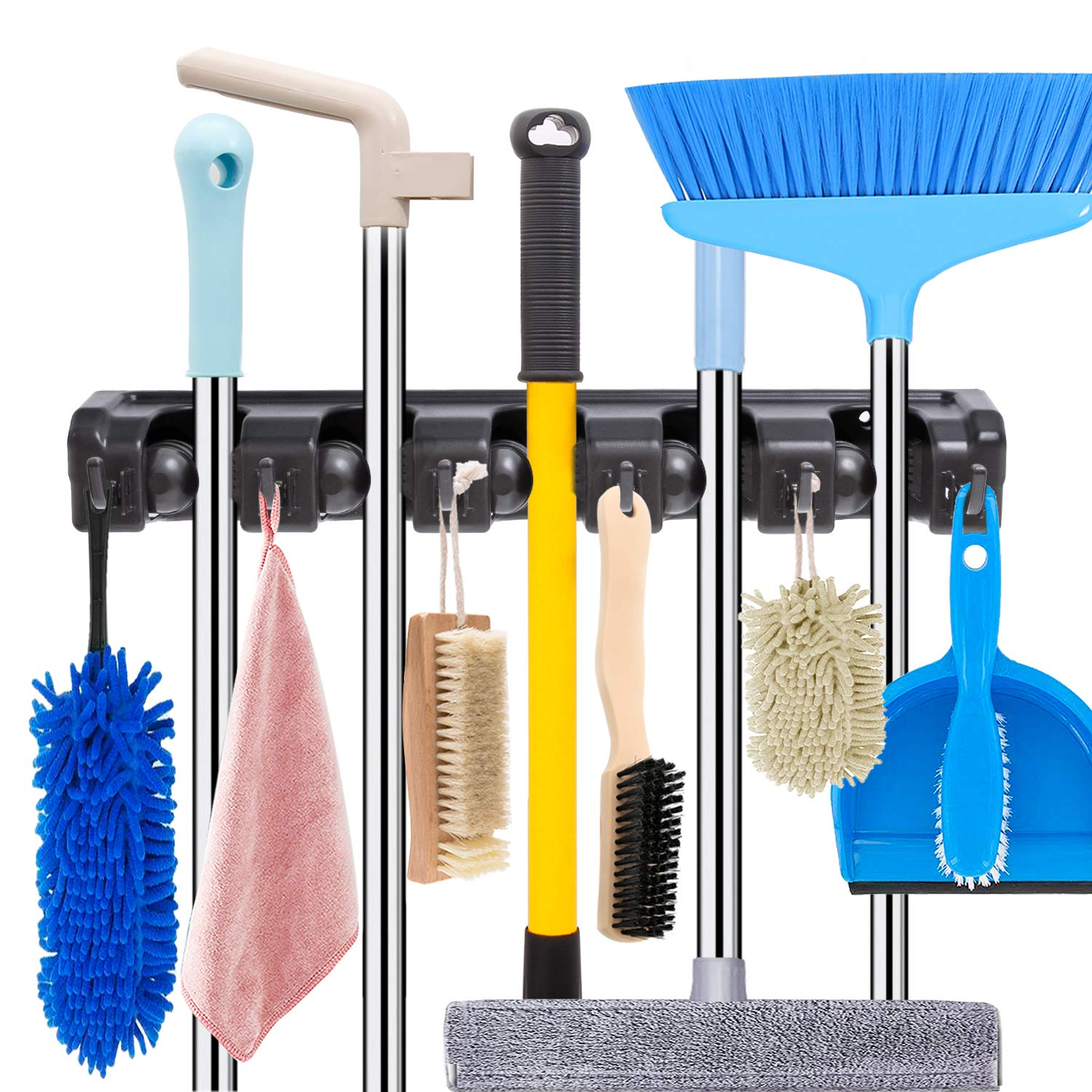 Mop and Broom Holder Wall Mount Heavy Duty Broom Holder Wall Mounted Broom Organizer Home Garden Garage Storage Rack 5 Position with 6 Hooks (Black)