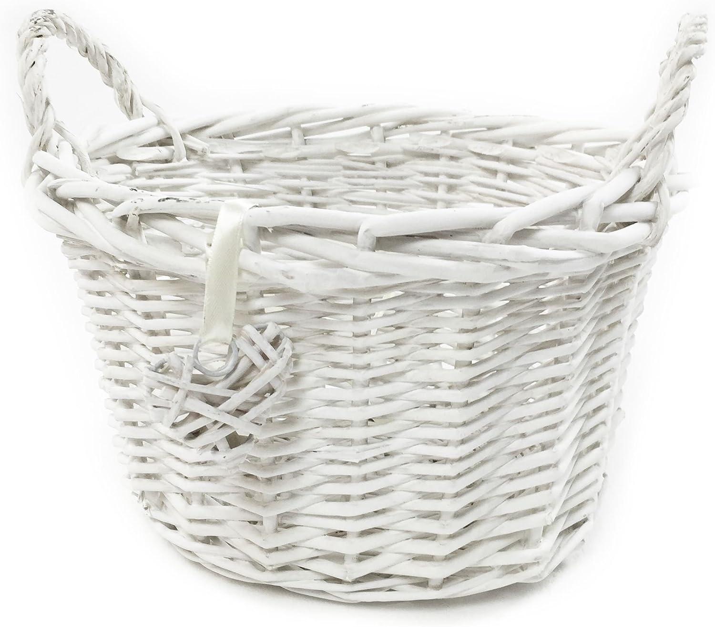 topfurnishing Oval White Wicker Fruit Egg Storage Christmas Xmas Gift hamper Display Basket 22x17x19cm Oval Deep,White,Small O
