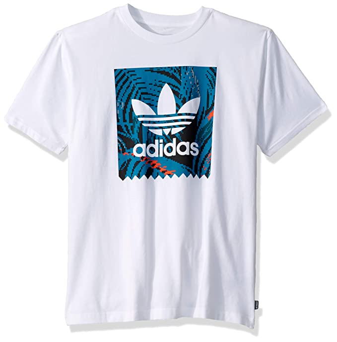 adidas Originals Men's Skate Blackbird Print Tee, White Teal/Active Orange, Large